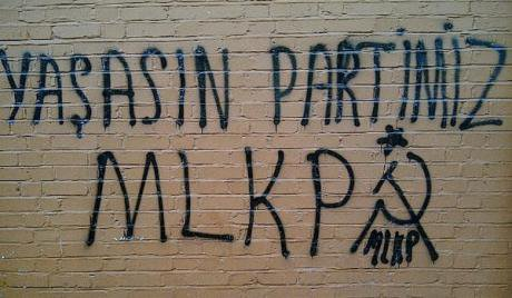Graffiti in Green Lanes in support of the youth wing of the Marxist-Leninist Communist Party. (Photo by the author, 2012)