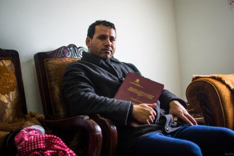 Nail Salameh Al-Mulhan, holding his master's thesis
