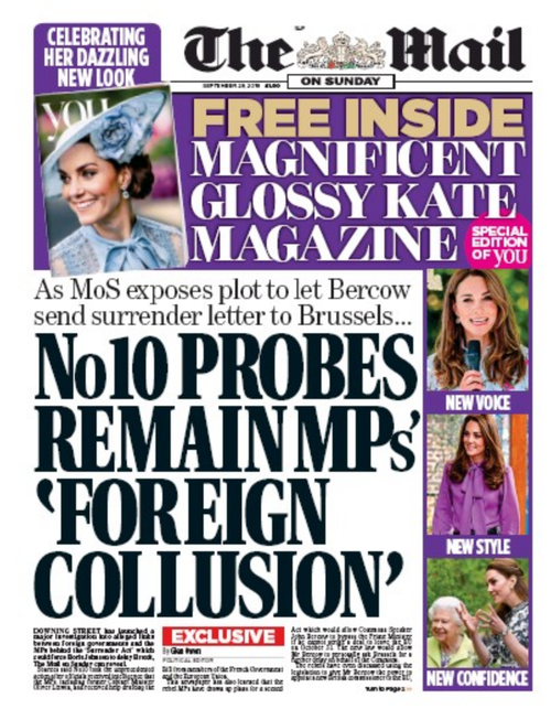 Mail on Sunday front page 29 September 2019
