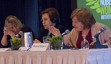 Nobel Peace Laureates on teh conference panel.