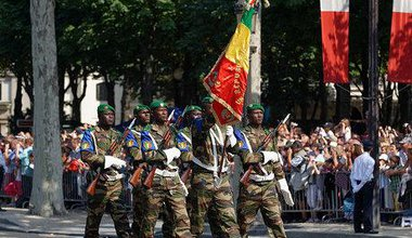 Malian troops on parade on Bastille Day in Paris, 2013