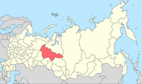 Map showing location of Khanty-Mansiysk in western siberia. It is a large if remote region.