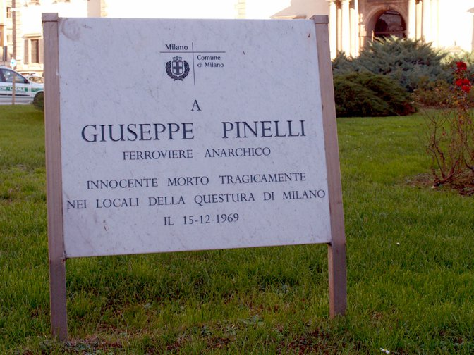 Plaque erected by Milan City Council to anarchist Giuseppe Pinelli, cleared of all charges.