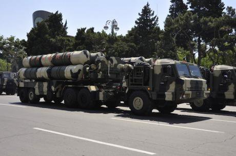 Azerbaijani military parade showcasing advanced long range rockets.