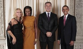 Prime Minister Milo Đukanović, and his wife, meet the Obamas. US Federal Government photograph. Public Domain.