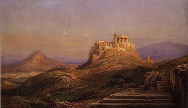 View of the Acropolis, Rudolf Müller, 1863. Wikimedia Commons. Some rights reserved.