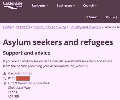 Calderdale Council's misleading advice to asylum-seekers (screenshot 20 June 2017)