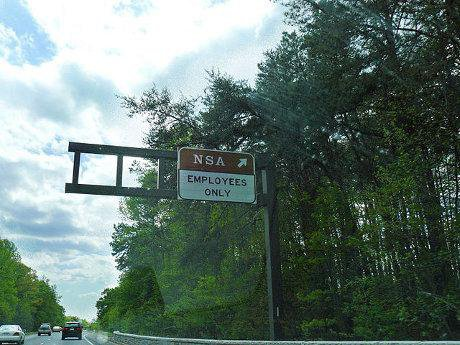 'NSA Employees Only' roadsign at turnover for headquarters in US