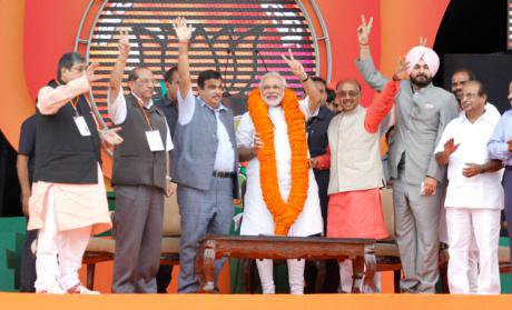 Modi at a rally in Delhi