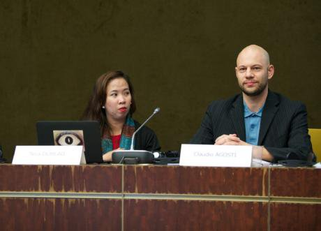 Nica Dumlao (left) at the 2015 World Forum for Democracy. Council of Europe/David Betzinger. All rights reserved.
