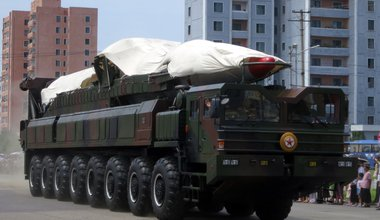 Ballistic missile and launcher in military parade, North Korea, 2013