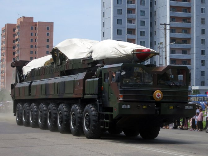 Ballistic missile launcher in military parade