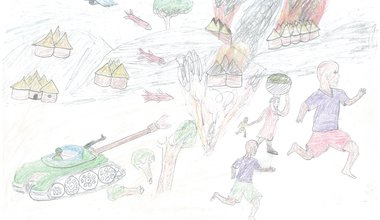 Drawing by child in a refugee camp on South Sudan border, December 2018