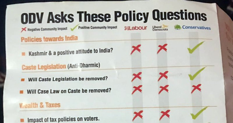 Operation Dharmic Vote Leicester East leaflet extract