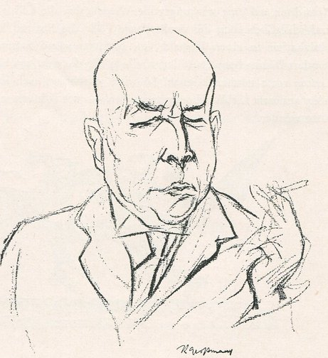 Satirical sketch of Oswald Spengler, author of The Decline of the West, 1922.