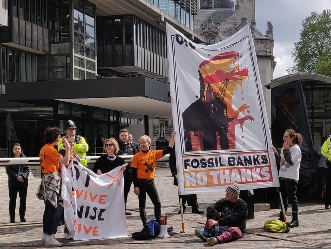 Activists protesting outside Barclays AGM, 2nd May 2019