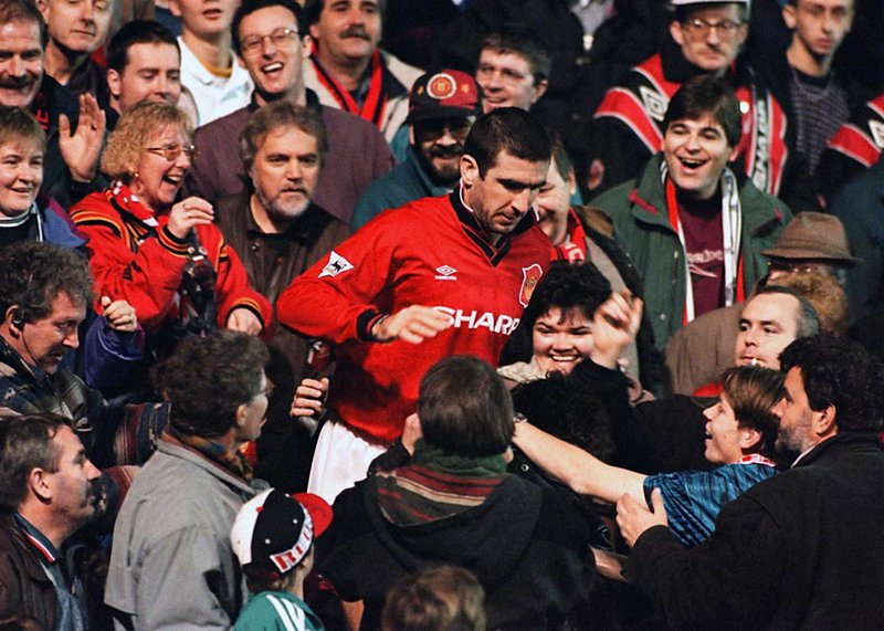 Eric Cantona, amongst the fans at Old Trafford, Dec.1995.