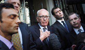 Rupert Murdoch speaks to the media outside the One Aldwych Hotel in London in 2011 after meeting with the family of murdered schoolgirl Milly Dowler.