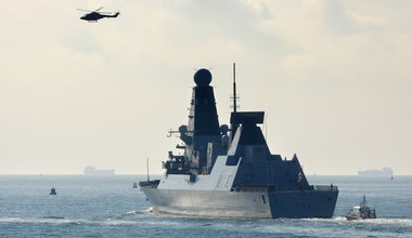 Royal Navy Type 45 Destroyer HMS Dauntless sets sail from Portsmouth for the Falklands Islands on her maiden deployment in 2012.