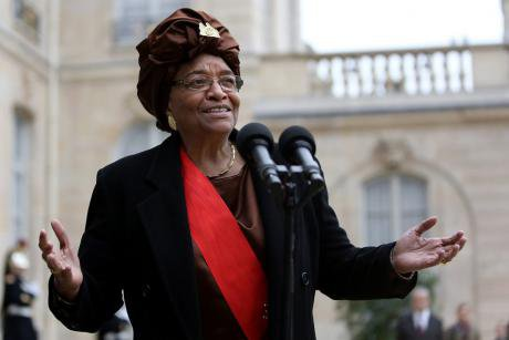 Liberian president Ellen Johnson Sirleaf in Paris in 2012.