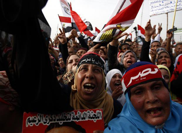 Close-up image of women's face during a demonstration in Cairo demonstrating against the ruling Muslim Brotherhood