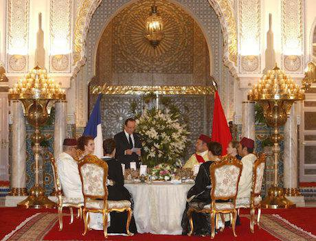 Hollande delivers a speech at state dinner hosted by the King. Abdeljalil Bounhar/Press Association Images. All rights reserved.