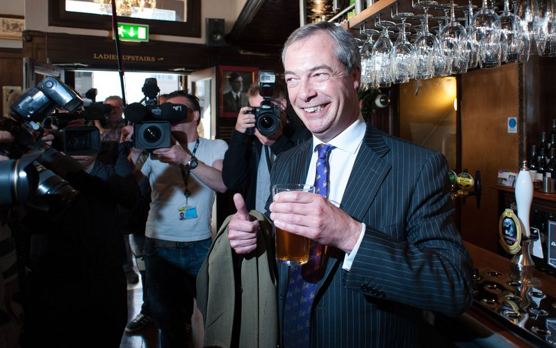 Farage, after local council elections in the Marquis of Granby, May, 2013.