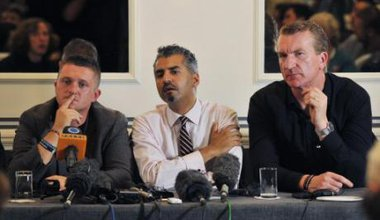 Maajid Nawaz sits between the co-founder and the former leader of the English Defence League