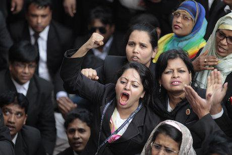 Lawyers and supporters of the opposition Bangladesh Nationalist Party (BNP) shout slogans against the government in 2015. Credit