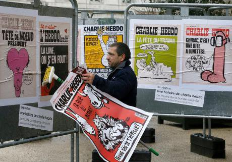 A tribute to Charlie Hebdo after the attack.