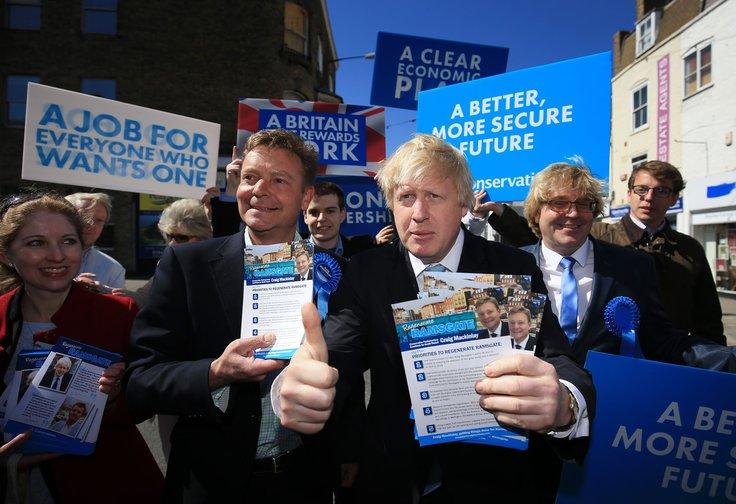 Conservative Party parliamentary candidate for South Thanet Craig Mackinlay (left) with Mayor of London Boris Johnson campaigning in Ramsgate, Kent. 21 April 2015