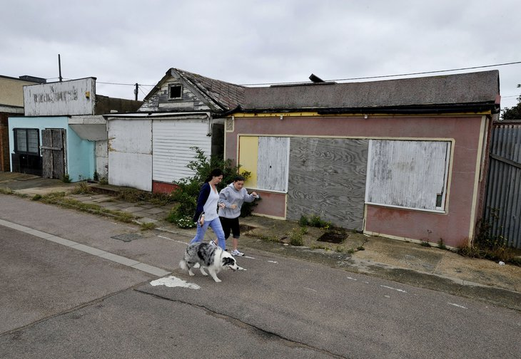 Boarded up properties in Jaywick, Essex, one of the most deprived towns in the UK.