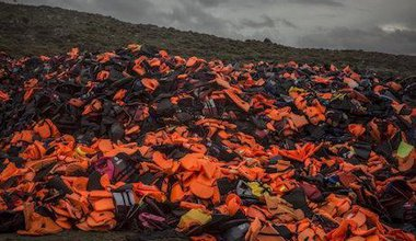 Lifejackets, Lesvos, 2016. Santi Palacios/AP/Press Association Images. All rights reserved.
