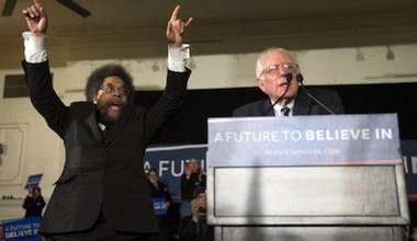 Cornel West and Bernie Sanders. Evan Vucci/AP/Press Association Images. All rights reserved.