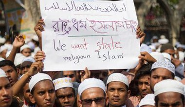 "Bangladeshi Islamists protest in 2016 against ""mockery"" of Islam."