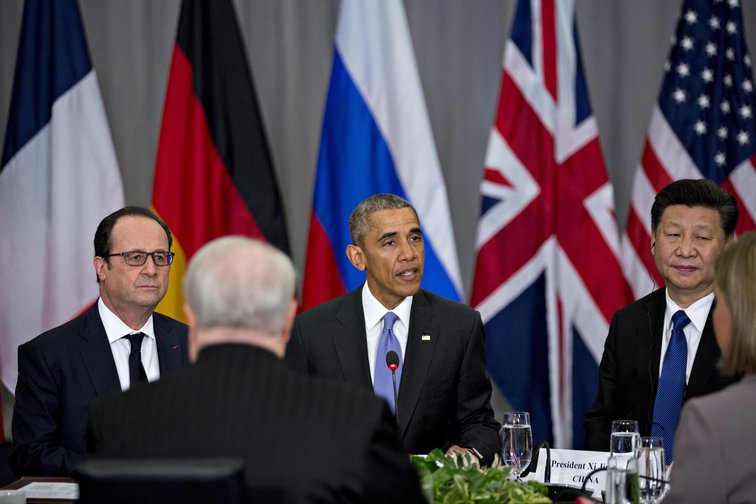 Obama and Hollande at a P5 + 1 Nuclear Security Summit in Washington, 2016, to keep ISIS and others from obtaining nuclear material and other weapons of mass destruction.