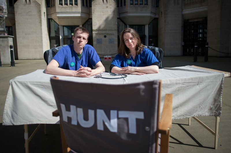Junior doctors camp outside the Department of Health in Whitehall, London in the hope of questioning Hunt over his proposed new contract.
