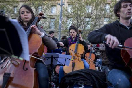A Nuit Debout orchestra gathers on the Place de la Republique, in Paris, April, 2016, in public protest.
