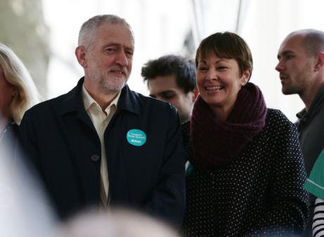 Labour leader Jeremy Corbyn and Green Party MP Caroline Lucas, 2016. Yui Mok/PA Archive/PA Images. All rights reserved.