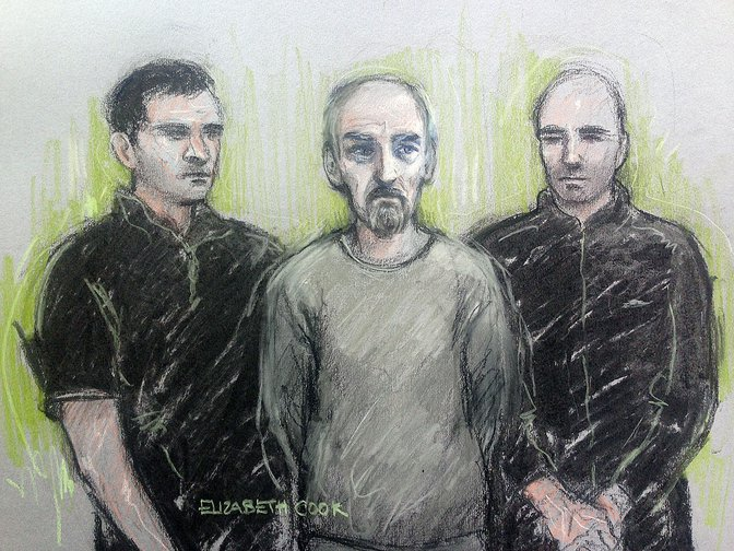 Court artist sketch of Thomas Mair, charged with the murder of Labour MP Jo Cox, June 2016.