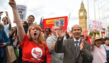 Momentum holds a 'Keep Corbyn' demonstration outside the Houses of Parliament in London, at the same time as the Parliamentary Labour Party is due to meet inside., 27 June 2016