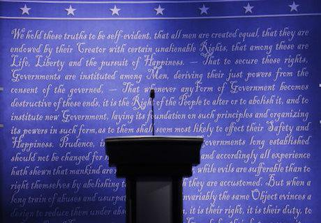 The stage is set for Monday's presidential debate. Patrick Semansky/AP/Press Association Images. All rights reserved.