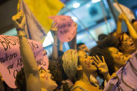 Women protest for legal and safe abortion in Brazil, 2016.