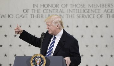 "Donald Trump speaks to 300 people at the Central Intelligence Agency (CIA) headquarters January 21, 2017 in Langley, Virginia. In his remarks Trump explained the CIA was his first visit because the ""dishonest media"" has made it appear he was having a feud"