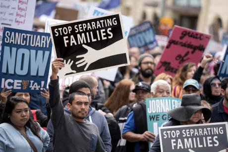 Rally in Los Angeles against immigration raids and deportations.