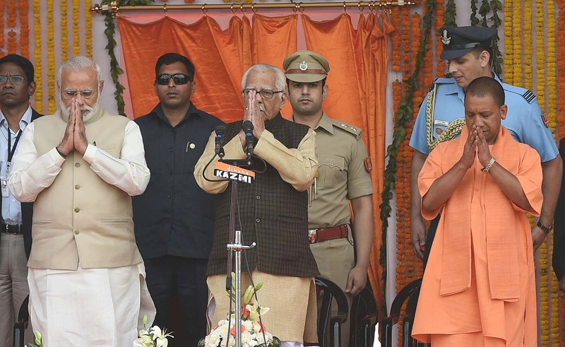 Yogi Adityanath's swearing-in ceremony in Lucknow, capital of Uttar Pradesh on March 19, 2017.