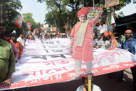 A cut-out of Indian Prime Minister Narendra Modi at a rally in Kolkata.