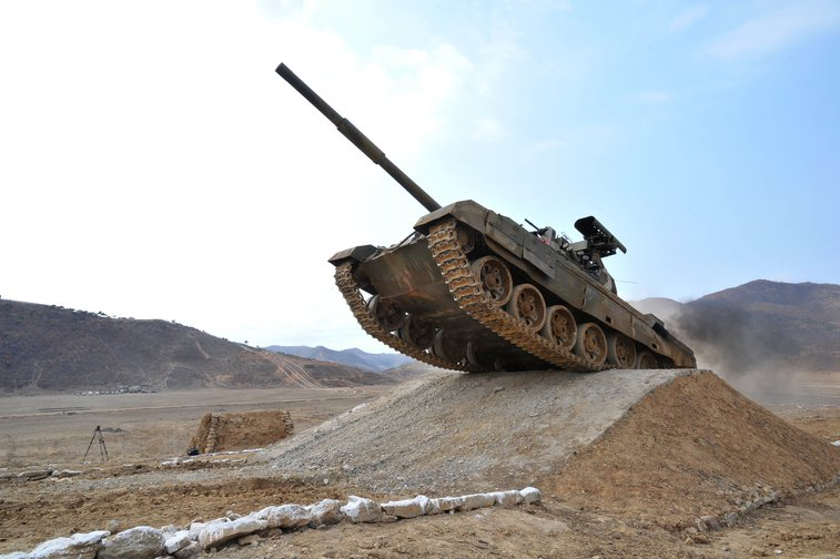 April 1, 2017: a tank from the tank units of the Democratic People's Republic of Korea recently attending the Korean People's Army Tank Crews' Competition-2017.