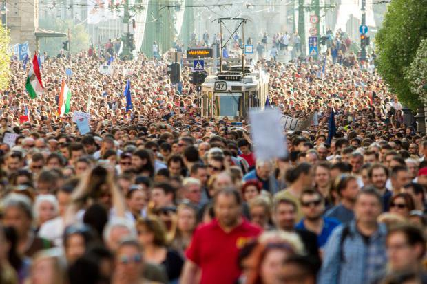 thousands marching in support of the Central European University in Budapest, hungary