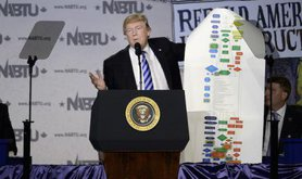 Trump holding up a chart of regulation at a CEO town hall on the American business climate, April, 2017.